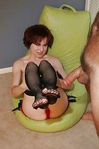 Soggy Annabelle Lee Lets Her Mate Worship Her Nylon Clad Leg By Showering It With Sperm