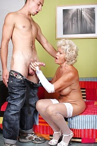 Busty Granny Francesca Handles Her Titties While A Boy Fucks His Cock Down Into Her Good Cunt